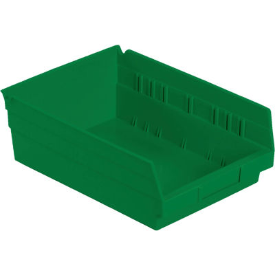 "Global Industrial™ Plastic Nesting Storage Shelf Bin 8-3/8""W x 11-5/8""D x 4""H Green - Pkg Qty 12"