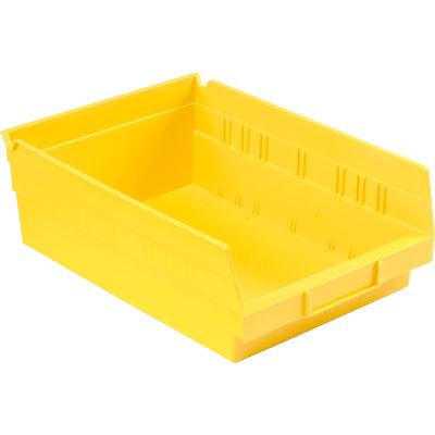 "Global Industrial™ Plastic Nesting Storage Shelf Bin 8-3/8""W x 11-5/8""D x 4""H Yellow - Pkg Qty 12"