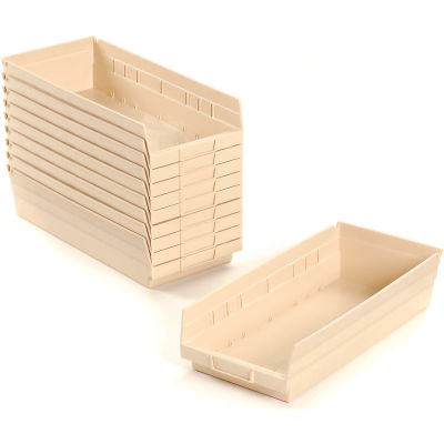 "Global Industrial™ Plastic Nesting Storage Shelf Bin 6-5/8""W x 17-7/8""D x 4""H Beige - Pkg Qty 12"