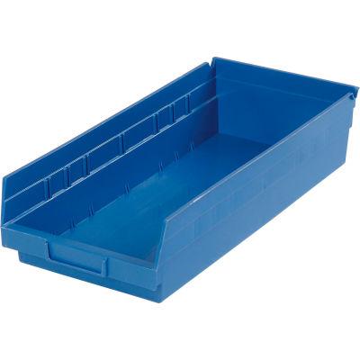 "Global Industrial™ Plastic Nesting Storage Shelf Bin 8-3/8""W x 17-7/8""D x 4""H Blue - Pkg Qty 12"