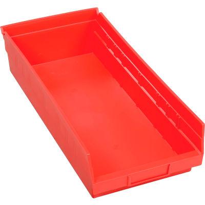 "Global Industrial™ Plastic Nesting Storage Shelf Bin 8-3/8""W x 17-7/8""D x 4""H Red - Pkg Qty 12"