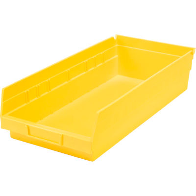 "Global Industrial™ Plastic Nesting Storage Shelf Bin 8-3/8""W x 17-7/8""D x 4""H Yellow - Pkg Qty 12"
