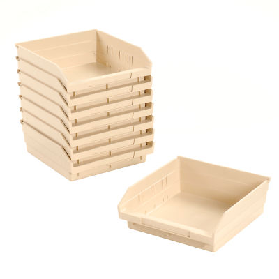 "Global Industrial™ Plastic Nesting Storage Shelf Bin 11-1/8""W x 11-5/8""D x 4""H Beige - Pkg Qty 12"