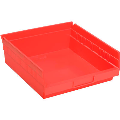 "Global Industrial™ Plastic Nesting Storage Shelf Bin 11-1/8""W x 11-5/8""D x 4""H Red - Pkg Qty 12"