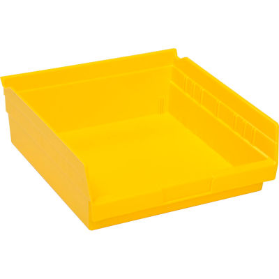 "Global Industrial™ Plastic Nesting Storage Shelf Bin 11-1/8""W x 11-5/8""D x 4""H Yellow - Pkg Qty 12"