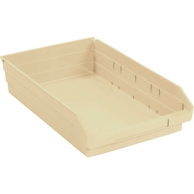"Global Industrial™ Plastic Nesting Storage Shelf Bin 11-1/8""W x 17-7/8""D x 4""H Beige - Pkg Qty 12"