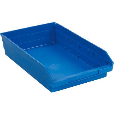 "Global Industrial™ Plastic Nesting Storage Shelf Bin 11-1/8""W x 17-7/8""D x 4""H Blue - Pkg Qty 12"