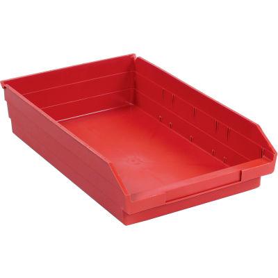 "Global Industrial™ Plastic Nesting Storage Shelf Bin 11-1/8""W x 17-7/8""D x 4""H Red - Pkg Qty 12"