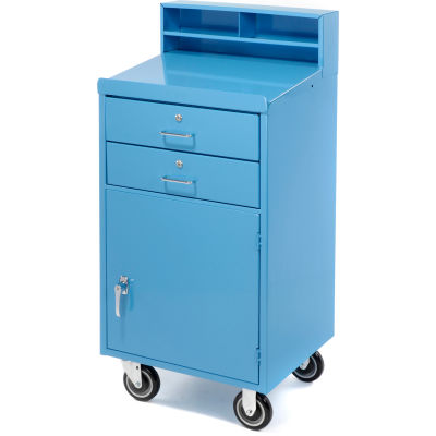 """Global Industrial™ Mobile Cabinet Shop Desk with 2 Locking Drawers 23""""W x 20""""D x 51""""H - Blue"""