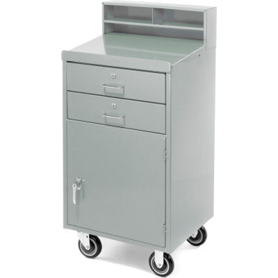 "Pucel Mobile Cabinet Shop Desk FED-2023 with 2 Locking Drawers 23""W x 20""D x 51""H - Gray"