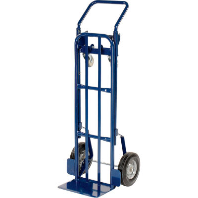 Global Industrial™ Steel 2-in-1 Convertible Hand Truck - Semi-Pneumatic Wheels - 600 Lb. Cap.