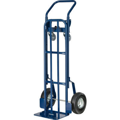 Global Industrial™ Steel 2-in-1 Convertible Hand Truck - Pneumatic Wheels - 600 Lb. Capacity
