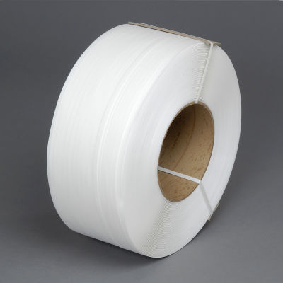 """Pac Strapping 8"""" x 8"""" Core Machine Grade Strapping, 9900'L x 1/2""""W x 0.024"""" Thick, White, 1 Pack"""