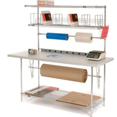 "Global Industrial™ Square Edge Packing Workbench & Riser w/ 3 Shelves, 72""W x 30""D, White"