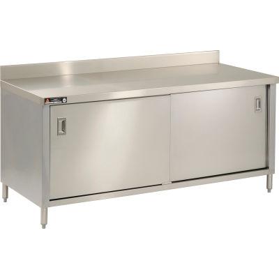 "Aero Manufacturing Company 304 Series Cabinet Workbench W/ Sliding Doors, 72""W x 30""D x 35""H, Silver"