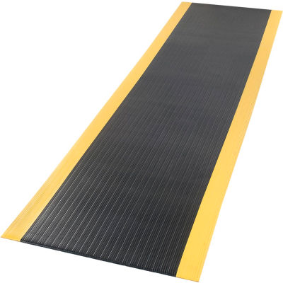 "Ribbed Surface Mat 3/8"" Thick 2'W Full 60Ft Roll, Black/Yellow Borders"