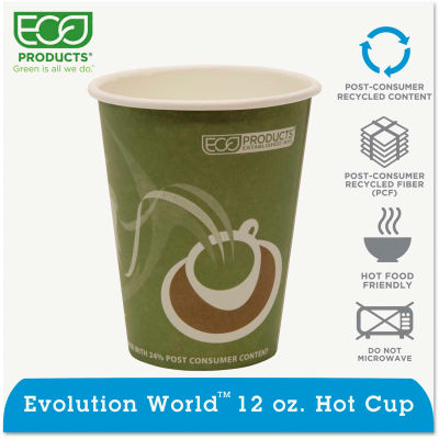 Eco-Products® Evolution World 24% PCF Hot Drink Cups, Sea Green, 12 oz., 1000/Carton