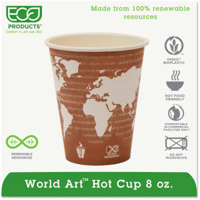 Eco-Products® Hot Paper Cups, World Art, 8 Oz., Plant-Based Resin Inner Lining, 50/Pack, Maroon