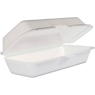 DART® DCC72HT1, Foam Hinged Lid Hot Dog Container, White, 500/Carton