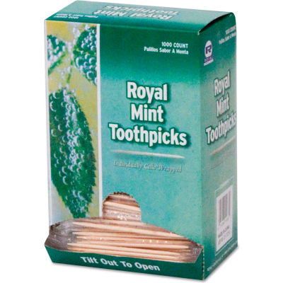 Royal RPPRM115, Cello-Wrapped Wooden Toothpicks, Natural, Mint, 15,000/Carton
