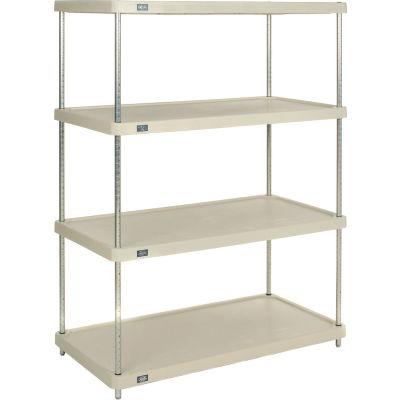 "Nexel® Solid Plastic Shelving Unit - Clear Epoxy Posts - 48""W x 24""D x 63""H - 4 Shelf"