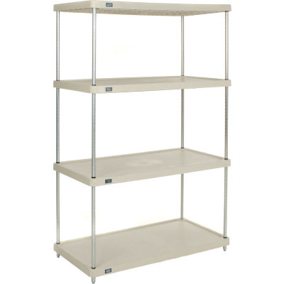 "Nexel® Solid Plastic Shelving Unit - Clear Epoxy Posts - 48""W x 24""D x 74""H - 4 Shelf"