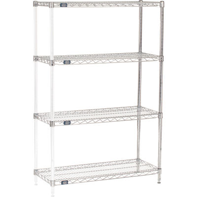 "Nexel® Chrome Wire Shelving Add-On - 36""W x 14""D x 54""H"