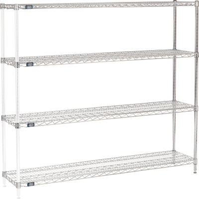 "Nexel® Chrome Wire Shelving Add-On - 60""W x 14""D x 63""H"