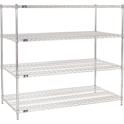 "Nexel® Chrome Wire Shelving Starter, 60""W x 30""D x 54""H, Unassembled"