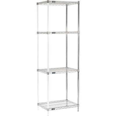 "Nexel® Chrome Wire Shelving Add-On - 24""W x 18""D x 86""H"