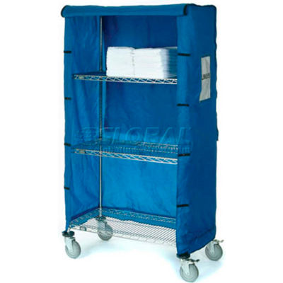 "Nexel® Chrome Wire Linen Cart with Nylon Cover, 4 Shelves, 72""L x 18""W x 69""H"