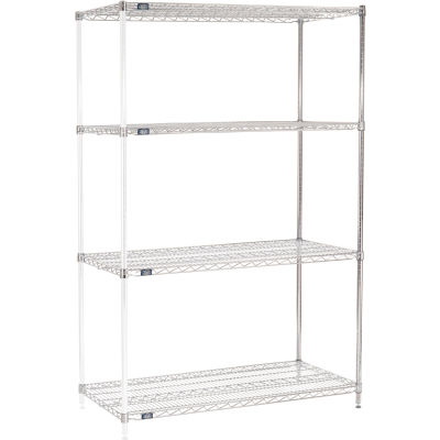 "Nexel® Chrome Wire Shelving Add-On - 48""W x 24""D x 86""H"
