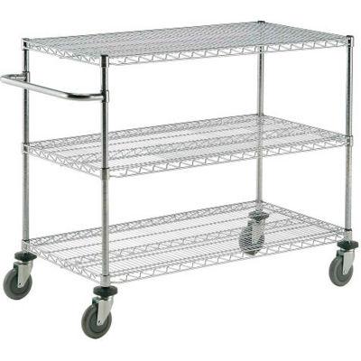 "Nexel® Chrome ESD Adjustable Shelf Cart, 3 Shelf, 60""L x 18""W x 40""H, Polyurethane Casters"