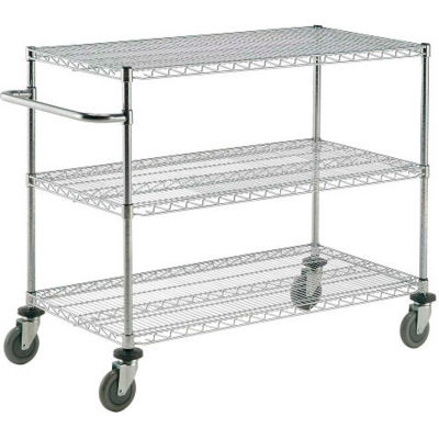 "Nexel® Chrome ESD Adjustable Shelf Cart, 3 Shelf, 72""L x 24""W x 40""H, Polyurethane Casters"