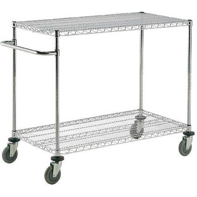 "Nexel® Chrome ESD Adjustable Shelf Cart, 2 Shelf, 42""L x 21""W x 40""H, Polyurethane Casters"