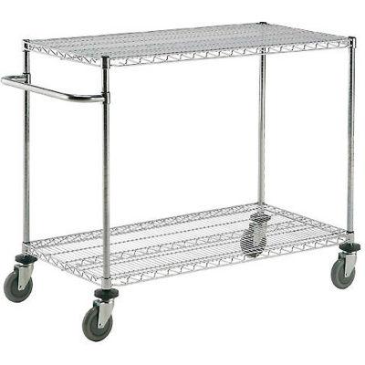 "Nexel® Chrome ESD Adjustable Shelf Cart, 2 Shelf, 72""L x 24""W x 40""H, Polyurethane Casters"