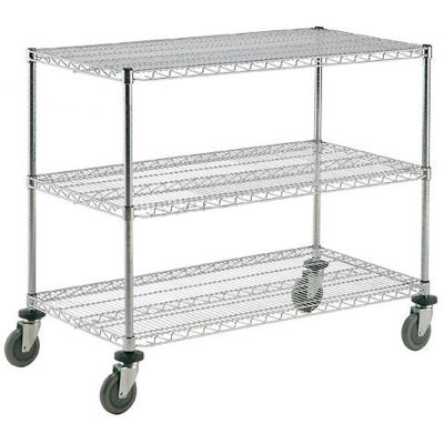 "Nexel® Chrome ESD Adjustable Shelf Truck, 3 Shelf, 60""L x 24""W x 40""H, Polyurethane Casters"