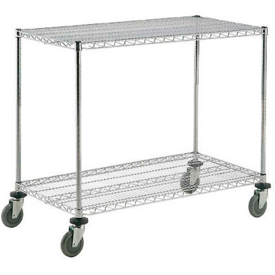 "Nexel® Chrome ESD Adjustable Shelf Truck, 2 Shelf, 48""L x 18""W x 40""H, Polyurethane Casters"