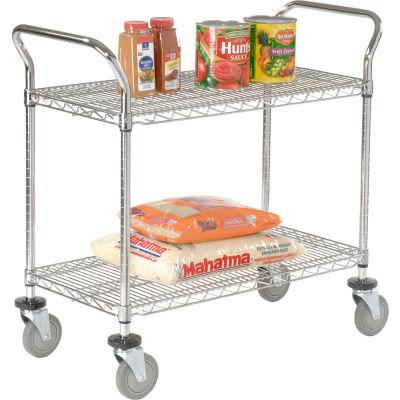 "Nexel® Utility Cart, 2 Shelf, Chrome, 36""L, x 18""W, x 39""H, Polyurethane Brake Casters"