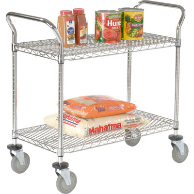 "Nexel® Utility Cart, 2 Shelf, Chrome, 42""L, x 24""W, x 39""H, Polyurethane Brake Casters"