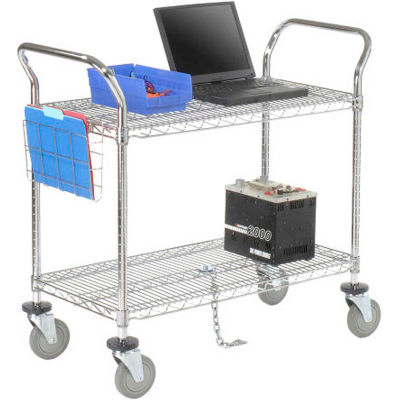 "Nexel® Chrome ESD Utility Cart, 2 Shelf, 60""L x 18""W x 39""H, Polyurethane Casters"
