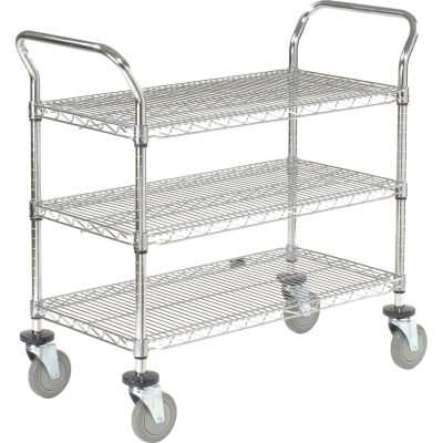 "Nexel® Utility Cart, 3 Shelf, Chrome, 42""L, x 21""W, x 39""H, Polyurethane Brake Casters"