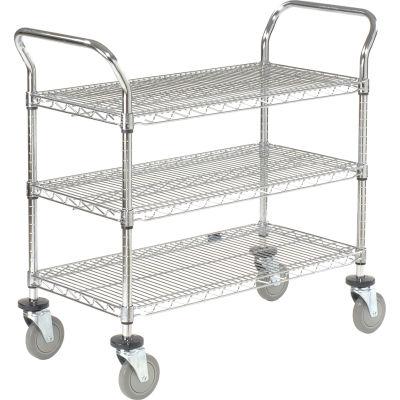 "Nexel® Utility Cart, 3 Shelf, Chrome, 42""L, x 18""W, x 39""H, Polyurethane Brake Casters"