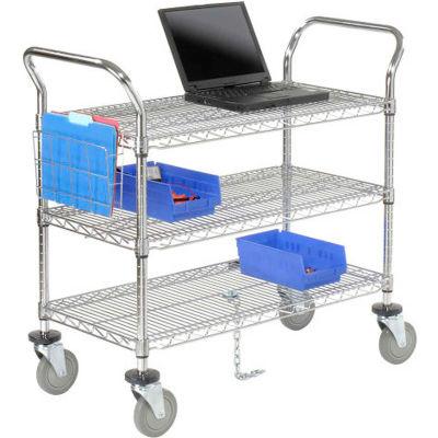 "Nexel® Chrome ESD Utility Cart, 3 Shelf, 42""L x 24""W x 39""H, Polyurethane Casters"