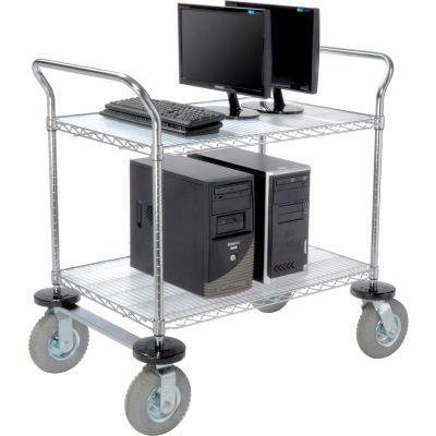 Nexel® Chrome Wire Shelf Instrument Cart 36x24 2 Shelves 1200 Lb. Capacity