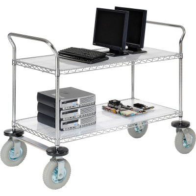 Nexel® Chrome Wire Shelf Instrument Cart 48x24 2 Shelves 1200 Lb. Capacity