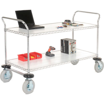 "Nexel® Utility Cart, 2 Shelf, Chrome, 36""L, x 18""W, x 42""H, Pneumatic Casters"