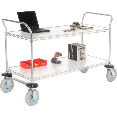 "Nexel® Utility Cart, 2 Shelf, Chrome, 48""L, x 21""W, x 42""H, Pneumatic Casters"