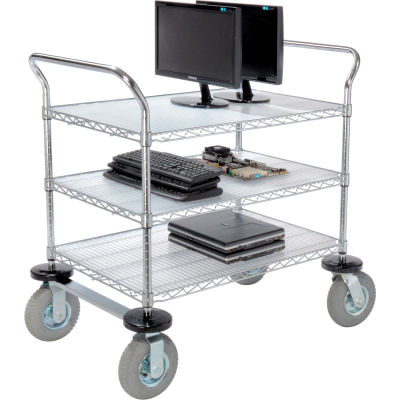 Nexel® Chrome Wire Shelf Instrument Cart 36x24 3 Shelves 1200 Lb. Capacity