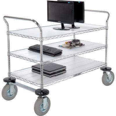 "Nexel® Utility Cart, 3 Shelf, Chrome, 42""L, x 21""W, x 42""H, Pneumatic Casters"